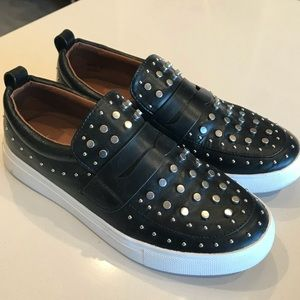 Report black studded slip on loafers